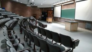 A large lecture hall that provides the teaching environment for P132